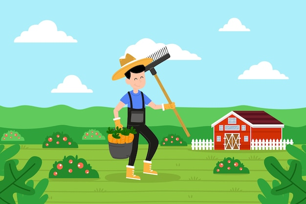 Organic farming concept with illustrated farmer Free Vector