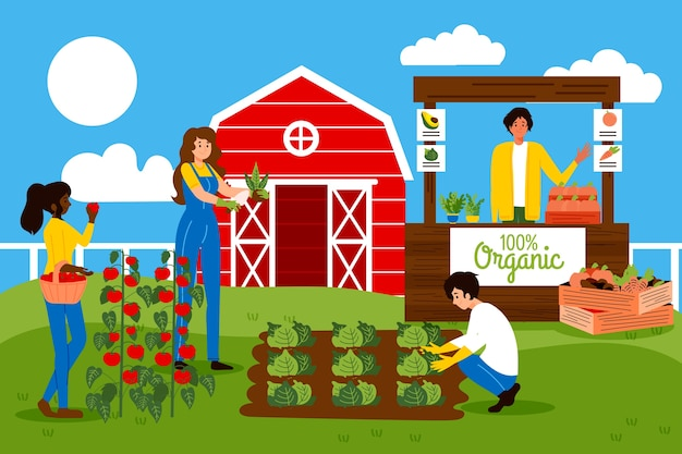 Organic farming concept with people cultivating vegetables Free Vector