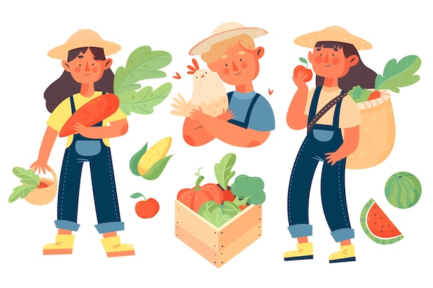Organic farming people with vegetables concept Free Vector