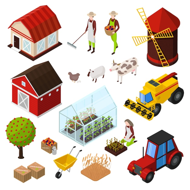 Organic farming products isometric icons set with isolated images of agrimotors buildings farm animals and plants Free Vector
