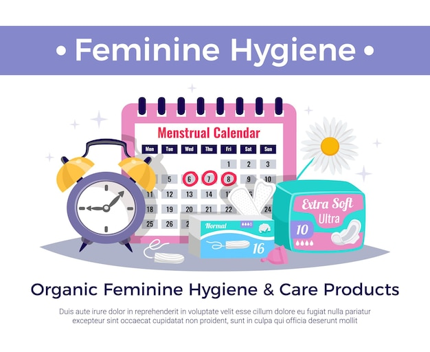 Organic feminine hygiene and care products flat advertising composition with menstrual calendar tampons ultra pads Free Vector