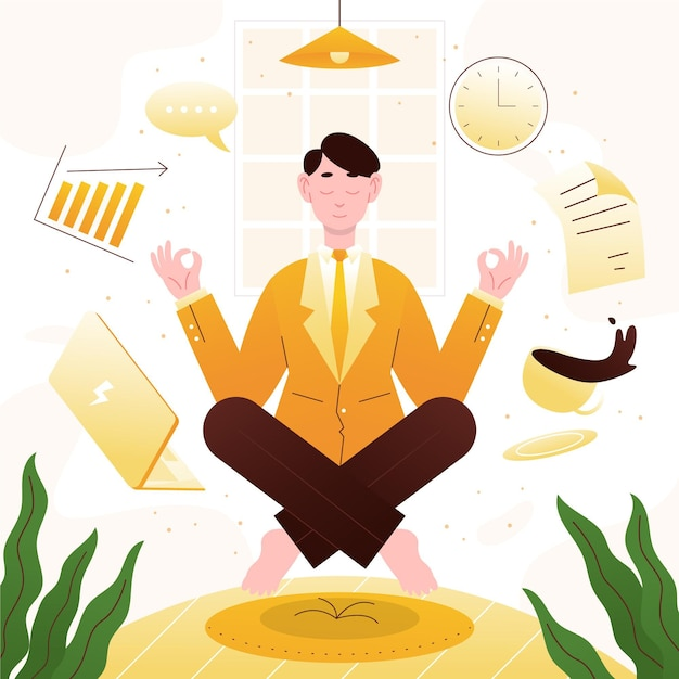Organic flat business person meditating Free Vector