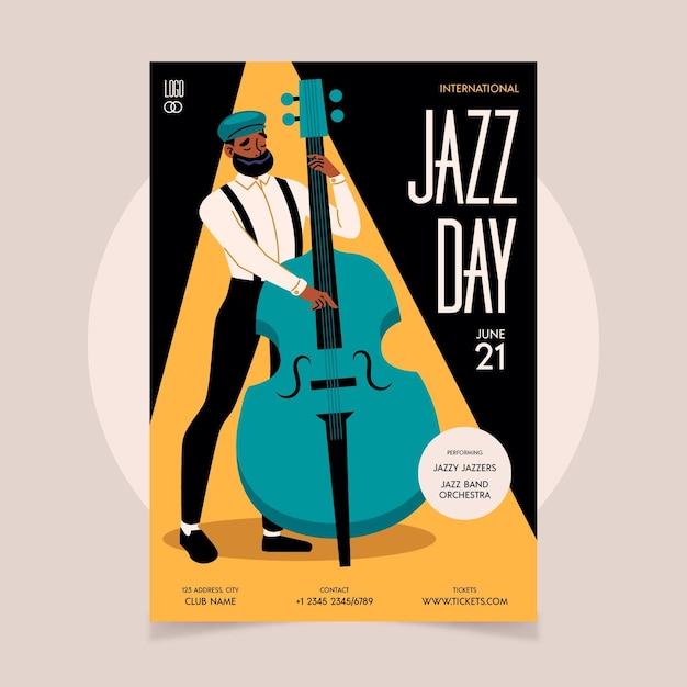 Органический плоский шаблон вертикального плаката международного дня джаза Бесплатные векторы