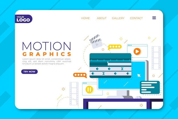 Organic flat motiongraphics landing page template Free Vector