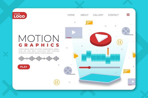 Pagina di destinazione di motiongraphics piatto organico Vettore gratuito