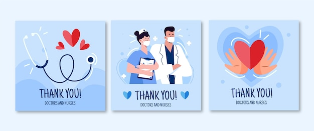Organic flat thank you doctors and nurses postcard pack Free Vector