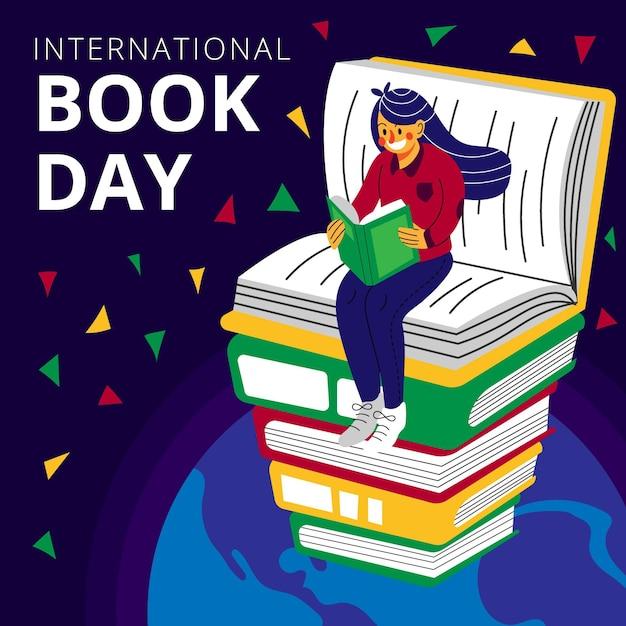 本のスタックの上に女性が読んでいる有機フラット世界図書日イラスト 無料ベクター