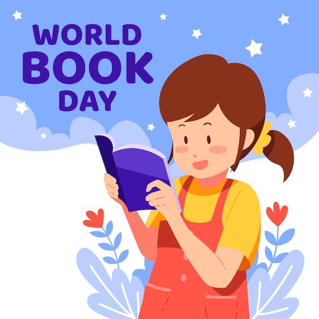 女性の読書と有機フラット世界図書日イラスト 無料ベクター