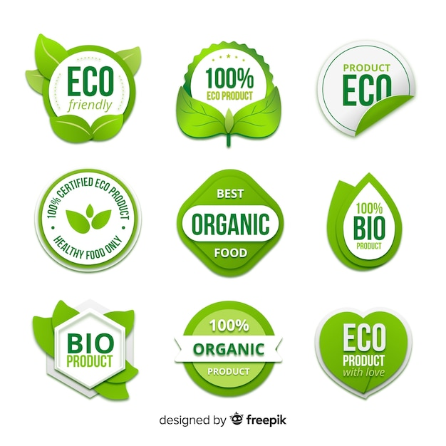 Organic food badge collection Free Vector