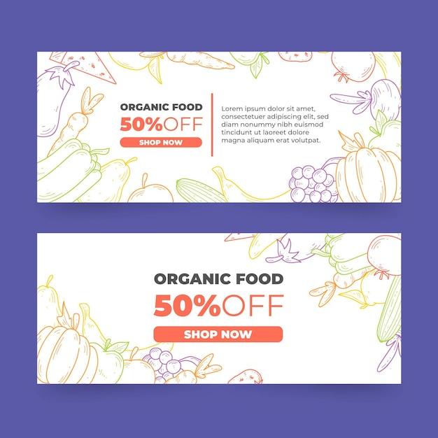 Дизайн баннеров органических продуктов питания Бесплатные векторы