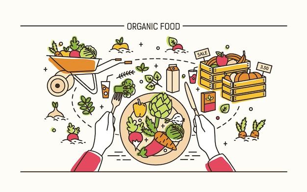 Концепция органических продуктов питания. руки держат вилку, нож и тарелку со здоровой едой в окружении фруктов, овощей, тачки, ящиков Premium векторы