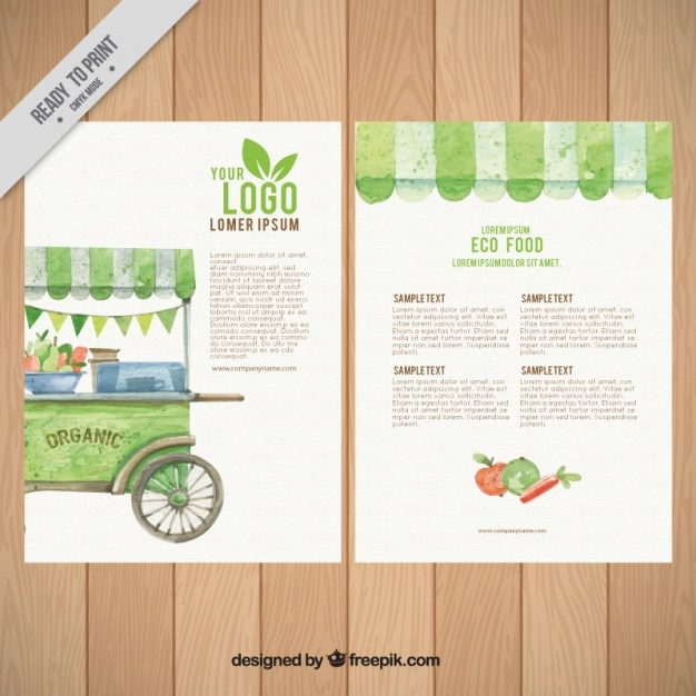 Organic Food Flyer Template Vector Free Download