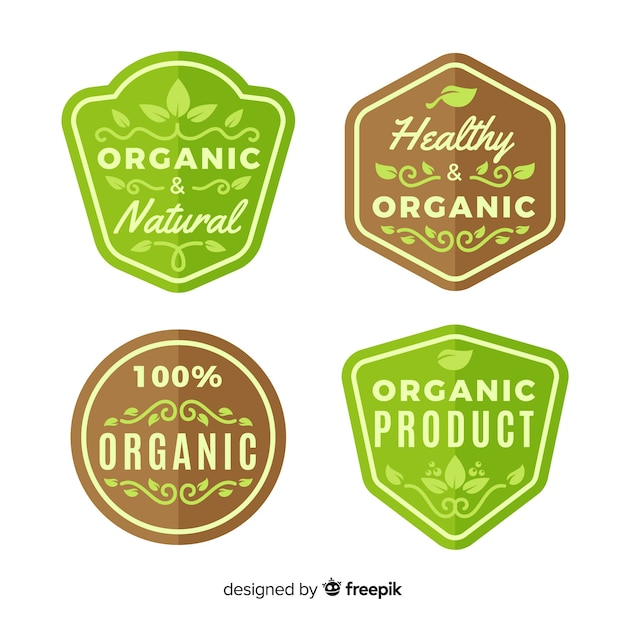 Organic food label collection Free Vector