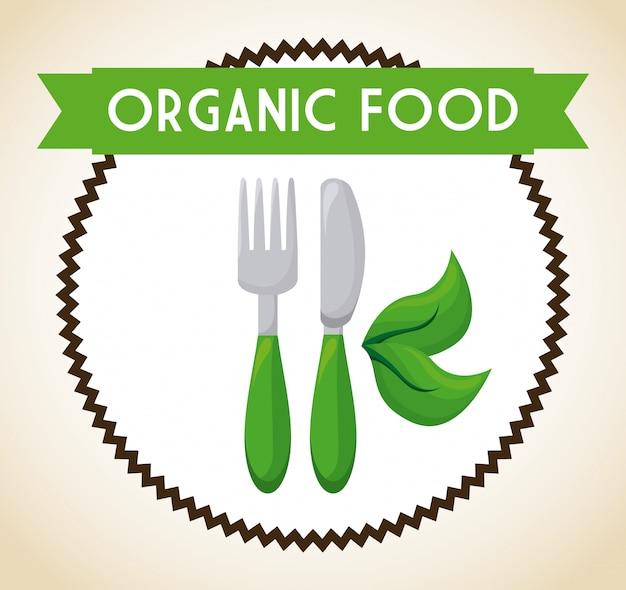 Organic food label illustration Free Vector