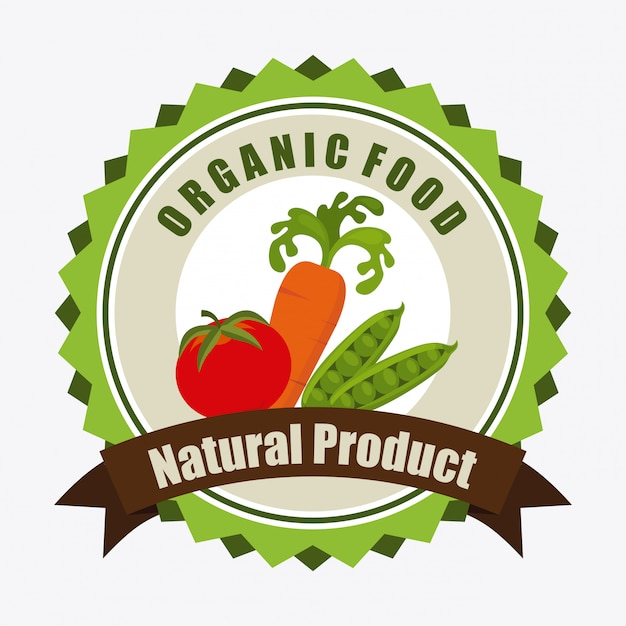 Organic food label illustration Free Vector