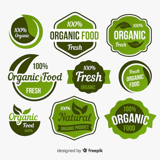 Organic food labels with leaves pack Free Vector