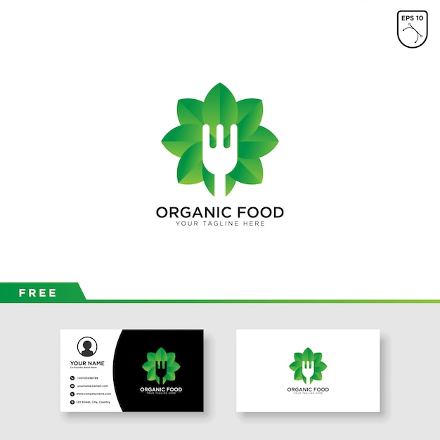 Organic food logo and business card template design Premium Vector
