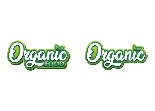 Organic food logo template Premium Vector