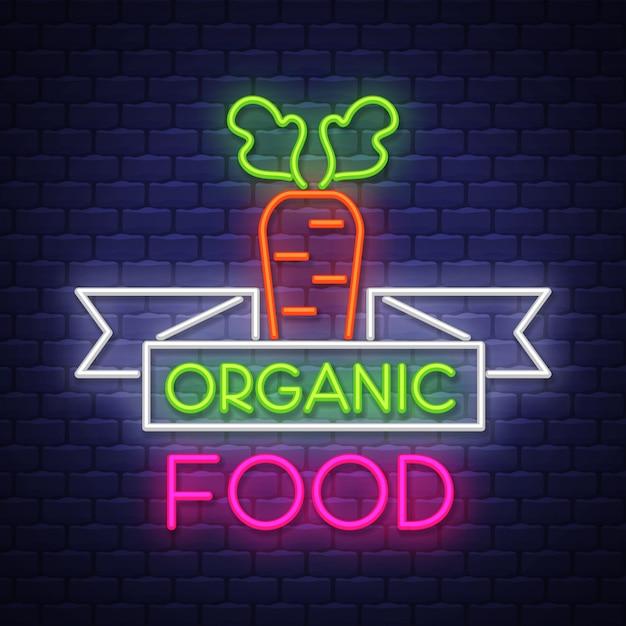 Organic food neon sign Premium Vector