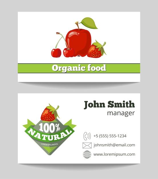 Organic food shop business card template Premium Vector