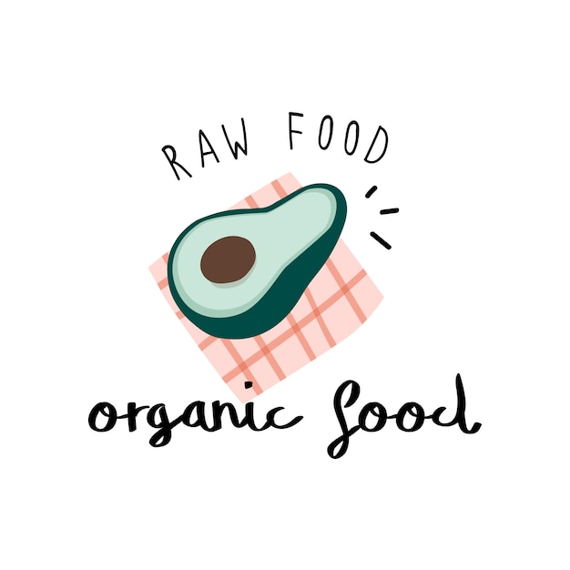 Organic food with an avocado vector Free Vector