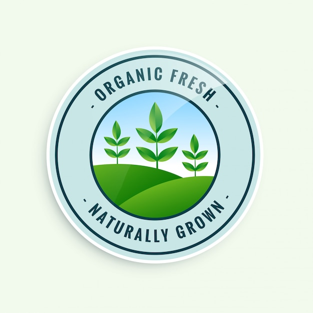 Organic fresh naturally grown food label Free Vector