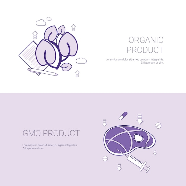 Organic and gmo product concept template web banner with copy space Premium Vector