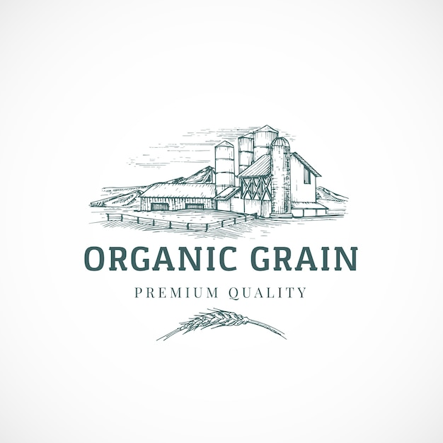 The organic grain elevator abstract  sign, symbol or logo template. Free Vector