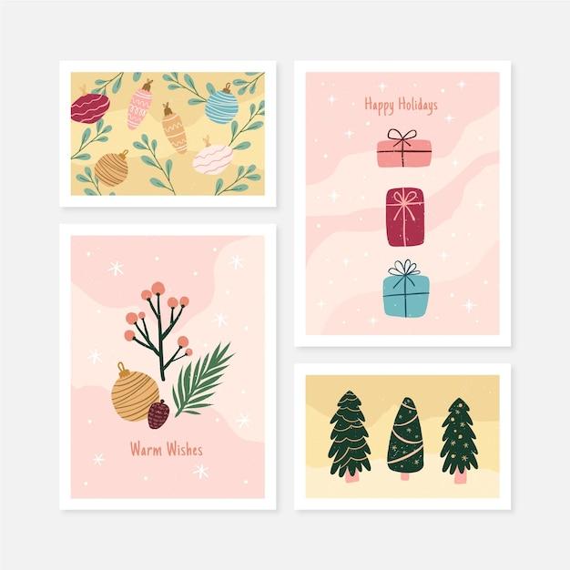 Коллекция органических рисованной рождественских открыток Бесплатные векторы