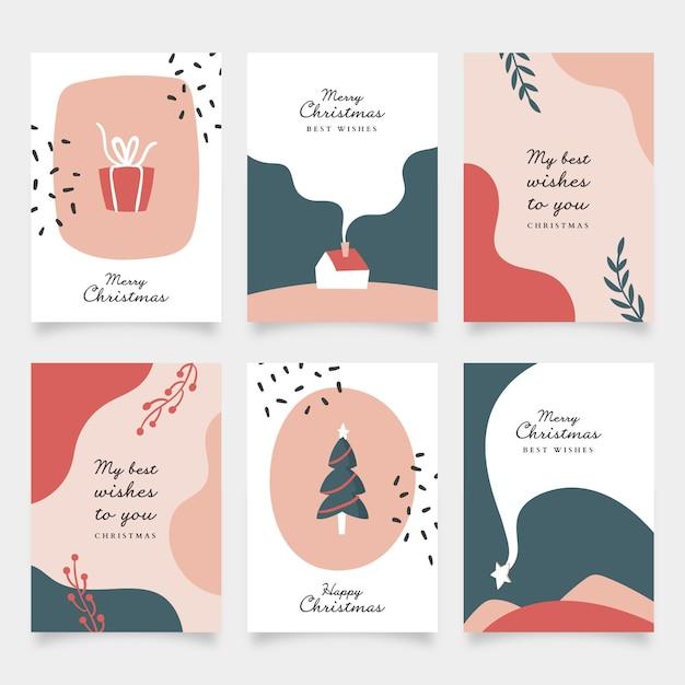 Collezione di cartoline di natale disegnate a mano organiche Vettore gratuito