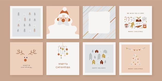 유기 손으로 그린 크리스마스 카드 컬렉션 무료 벡터