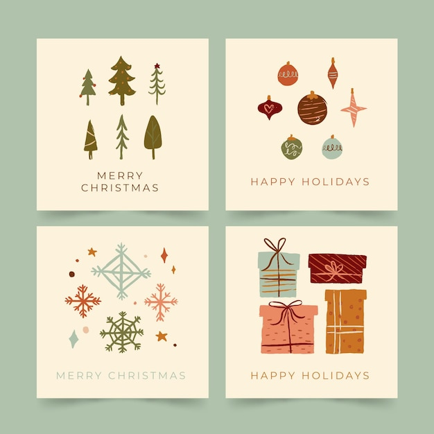 Organic hand drawn christmas cards Free Vector