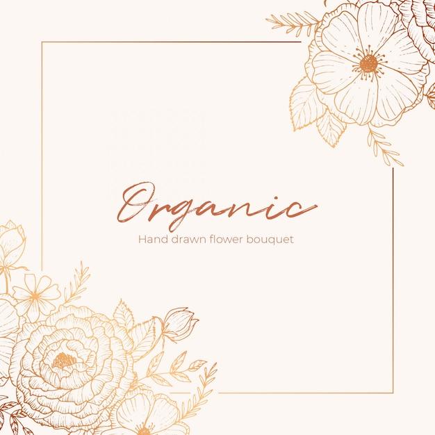 Organic hand drawn floral card vector design garden flower lavender rose white anemone eucalyptus thyme leaves elegant greenery, berry, forest bouquet print. Premium Vector