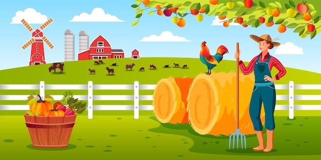 갈 퀴, 수탉, 건초 더미, 헛간, 가축을 들고 여자 농부와 유기 수확 농장 그림 프리미엄 벡터