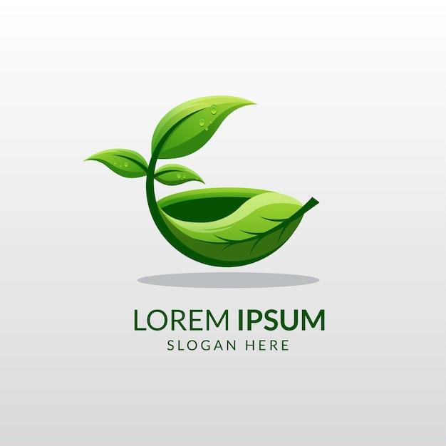 Organic herbal food logo template Premium Vector