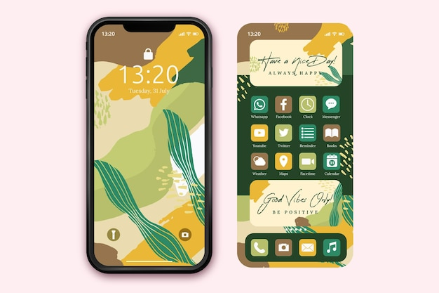 Organic home screen template for smartphone Free Vector