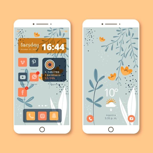 Modello di schermata iniziale organica per smartphone Vettore gratuito