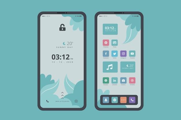 Органическая тема главного экрана для смартфона Premium векторы