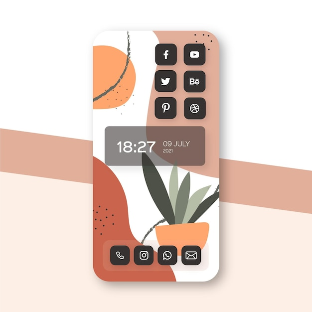 Organic home screen theme for smartphone Premium Vector