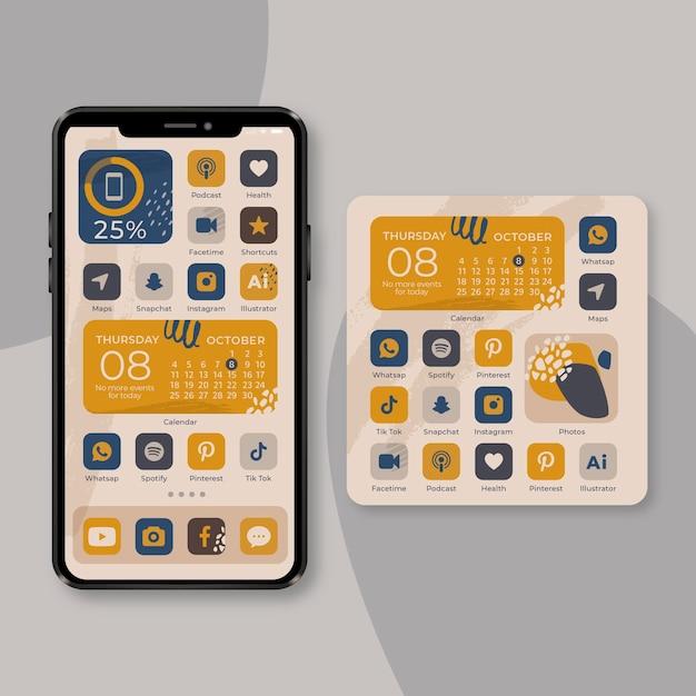 Tema organico della schermata iniziale per smartphone Vettore gratuito
