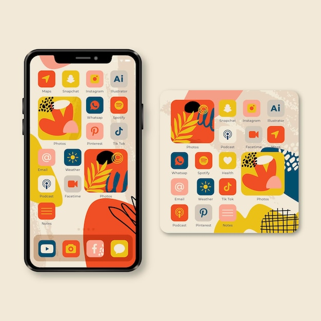 Organic home screen theme for smartphone Free Vector