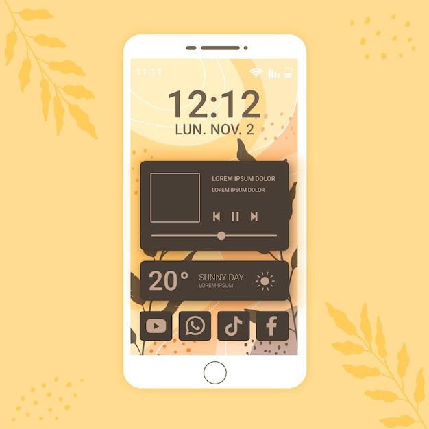 Organic home screen Premium Vector