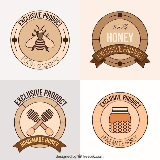 Organic honey labels Free Vector