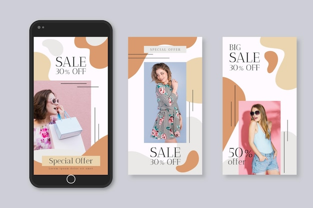 Organic instagram stories sale collection template Free Vector