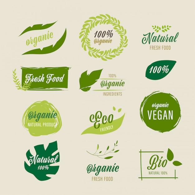 Organic label and natural farm fresh label. Premium Vector