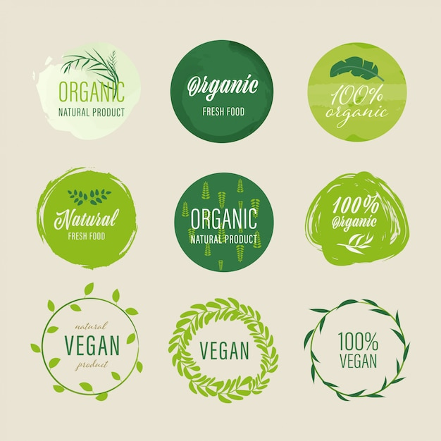 Organic label and natural label green color design. tag and sticker farm fresh logo vegan food mark guaranteed. Premium Vector