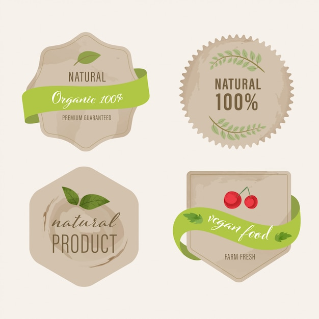 Organic label and natural label green color design. Premium Vector