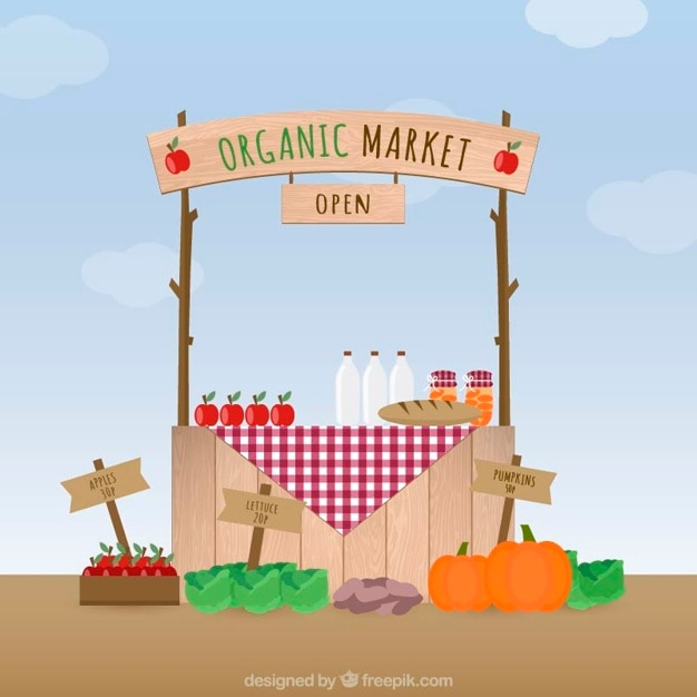Organic market Free Vector