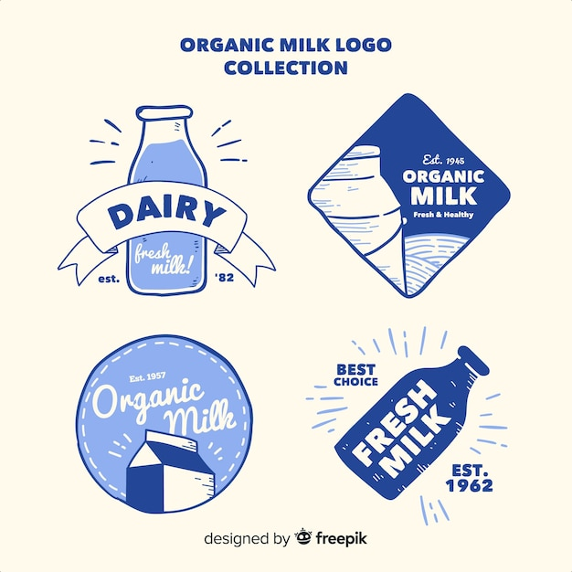 Organic milk logo collection Premium Vector