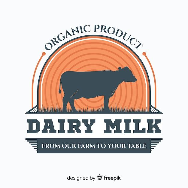 有機牛乳のロゴのテンプレート Premiumベクター